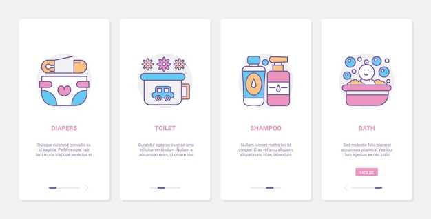 Itens de higiene para cuidados com o bebê, ux, tela da página do aplicativo móvel de integração da iu definida com produtos de linha
