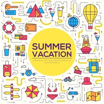 Itens de ícones de infográfico de viagem de verão. as férias descansam com qualquer conjunto de elementos.