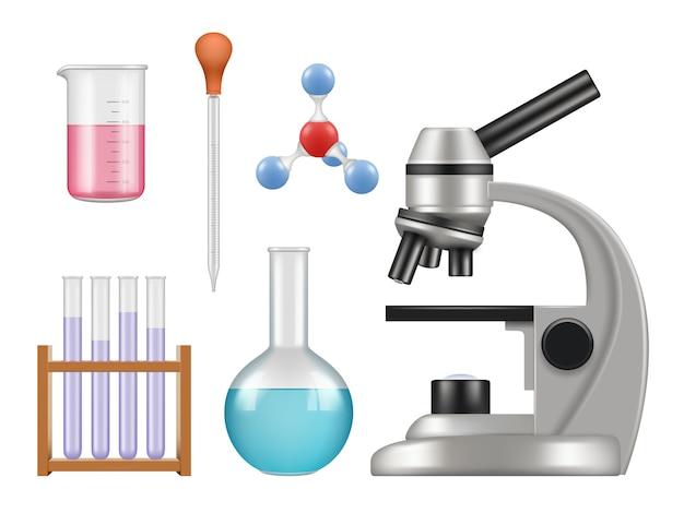 Itens de laboratório químico. coleção de laboratório de ciências garrafas microscópio tubos de vidro biologia ferramentas realistas