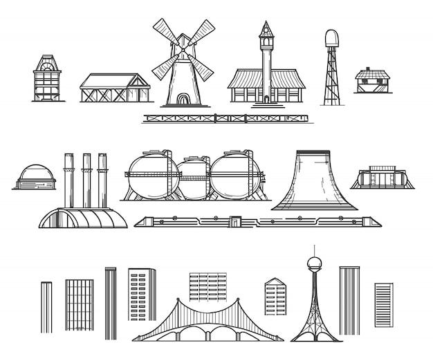 Itens de mão desenhada de indústria
