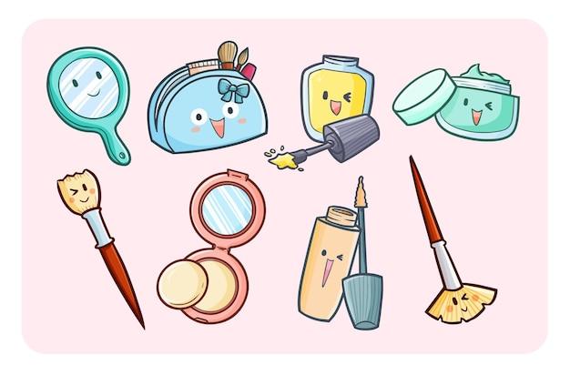 Itens de maquiagem engraçados e cuidados com o rosto em estilo simples de doodle kawaii