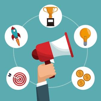 Itens de marketing digital de falante de mão