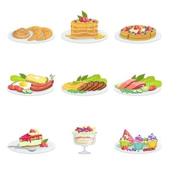 Itens de menu de variedade de comida de cozinha europeia ilustrações detalhadas