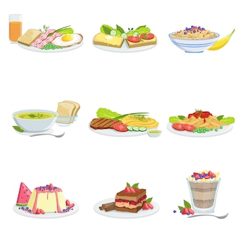 Itens de menu de variedade de pratos de cozinha europeia ilustrações detalhadas