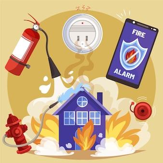 Itens de prevenção de incêndio desenhados à mão