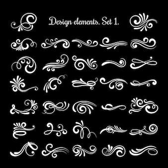 Itens de rolagem vintage de linha de vetor para design ornamentado