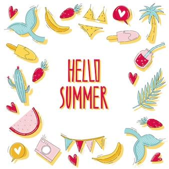 Itens de verão e adesivos com baleia, fruta, sorvete, melancia, maiô e cacto em estilo doodle plano