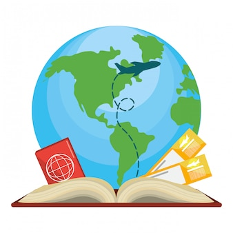 Itens de viagem e ícone de livro