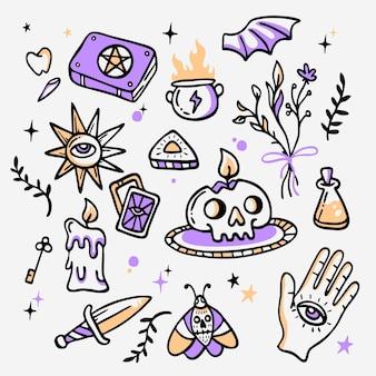 Itens esotéricos mão estilo desenhado