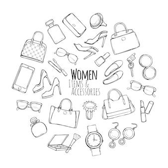Itens femininos e acessórios. coleção de coisas