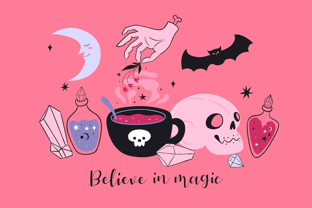 Itens mágicos e a inscrição acredite na mágica cartão-postal