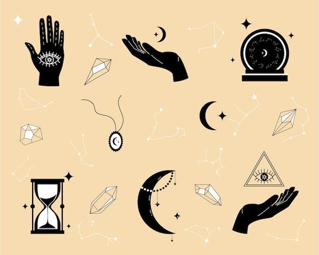 Itens mágicos para adivinhação e astrologia em um estilo moderno, numerologia e esotérica