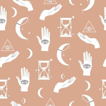 Itens mágicos para adivinhação e astrologia em um estilo moderno, numerologia e esotérico