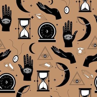 Itens mágicos para adivinhação e padrão sem emenda de astrologia em um estilo moderno
