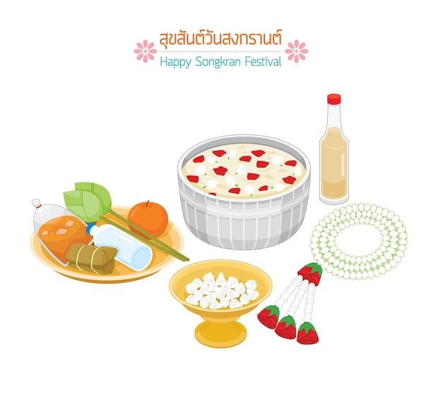 Itens para tradições religiosas na tradição do dia de songkran ano novo tailandês suk san wan songkran traduzir festival de songkran feliz