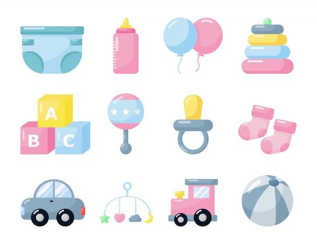 Itens recém-nascidos. ícones de brinquedos e roupas. suprimentos de cuidados com o bebê no fundo branco.