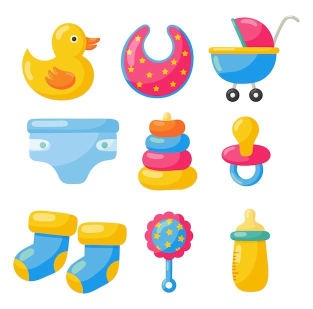 Itens recém-nascidos. ícones de brinquedos e roupas. suprimentos de cuidados com o bebê