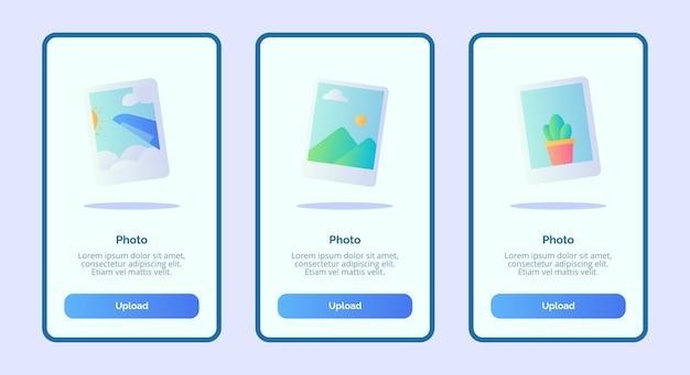 Iu da página de banner do modelo de foto para aplicativos móveis
