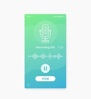 Iu móvel do aplicativo de gravação de áudio