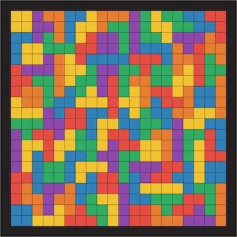 Iu plana sem costura cores tetris padrão linhas pretas isoladas em ilustração vetorial de fundo preto