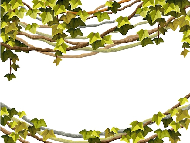 Ivy moldura ramos de cipó e folhas tropicais