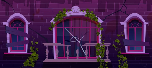 Ivy na fachada de um prédio abandonado antigo, videiras com folhas verdes subindo em janelas com tábuas e uma varanda de mármore quebrada com guarda-corpo externo com parede rachada ilustração dos desenhos animados