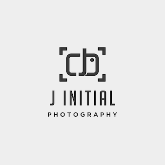 J elemento de ícone de design de vetor de modelo de logotipo de fotografia inicial