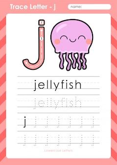 J medusa: planilha de letras de rastreamento az alfabeto - exercícios para crianças Vetor Premium