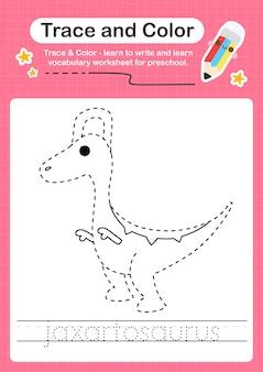 J rastreando a palavra para dinossauros e colorindo a planilha de rastreamento com a palavra jaxartosaurus