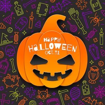 Jack o lantern recorte de abóbora de papel em um fundo com sinais e símbolos lineares de halloween