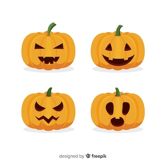 Jack o lanterna plana halloween curvado abóbora
