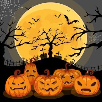 Jack o lanterns ou abóboras in spooky night - happy halloween illustration.