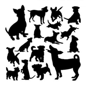 Jack russell cão silhuetas de animais