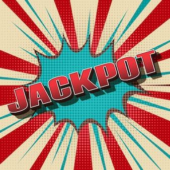 Jackpot comic retro. vencedor do jogo de azar, design vintage.