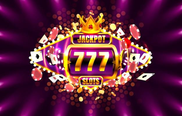 Jackpot king gira o cassino de 777 banners no fundo roxo.