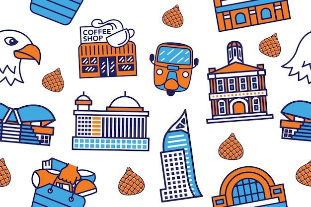 Jakarta seamless pattern em estilo de design plano