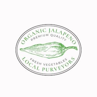 Jalapeño pimenta moldura distintivo ou modelo de logotipo desenhado à mão esboço vegetal verde com tipografia retro ...