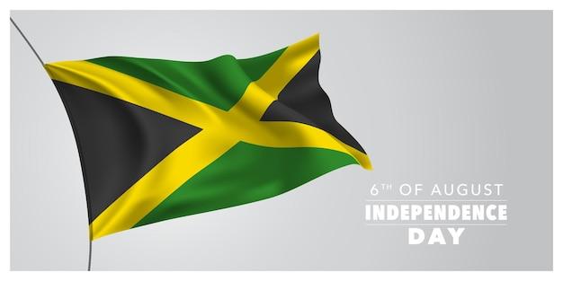Jamaica feliz dia da independência cartão, banner, ilustração vetorial horizontal. elemento de design do feriado de 6 de agosto com uma bandeira agitando como um símbolo de independência