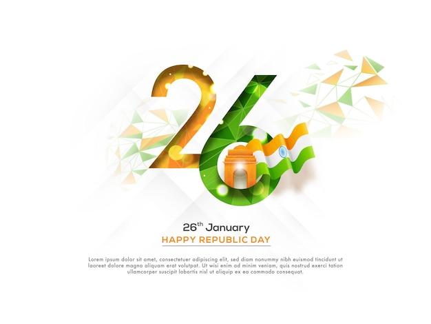 Janeiro de 26, número em linhas poligonais com o portão da índia e a bandeira nacional