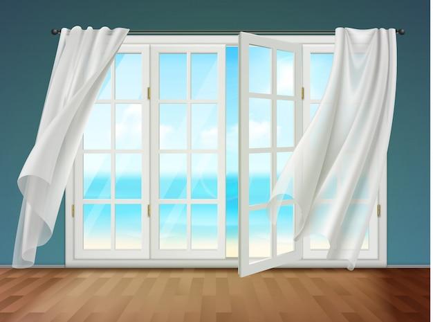 Janela aberta com cortinas esvoaçantes