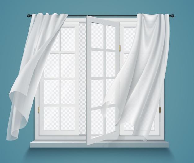 Janela aberta com cortinas onduladas, vista transparente, composição com paredes azuis e cortinas brancas penduradas na haste
