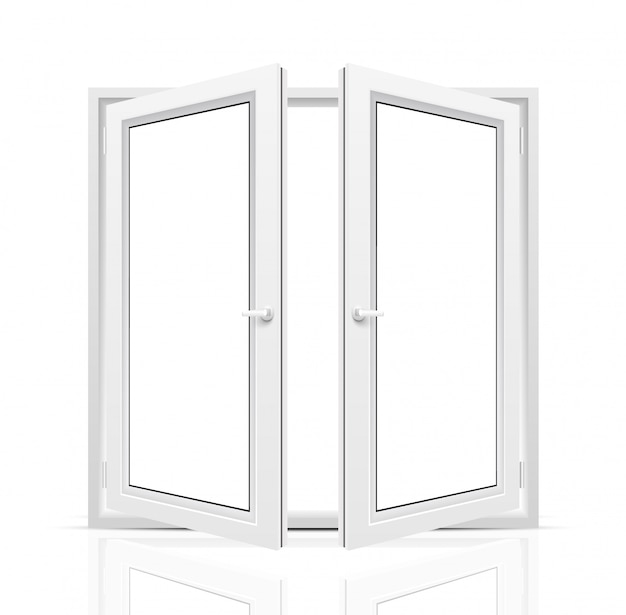 Janela aberta em fundo branco