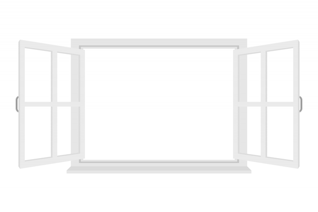 Janela aberta, isolada no fundo branco