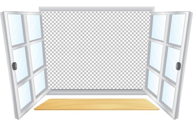 Janela branca aberta com fundo transparente