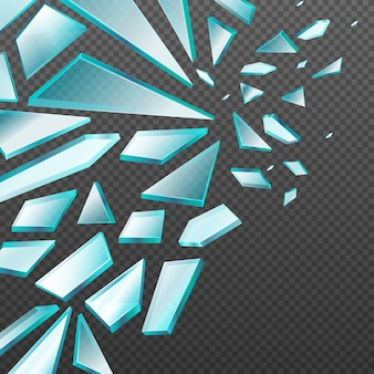 Janela com cacos de vidro quebrado transparente