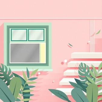 Janela com fundo rosa