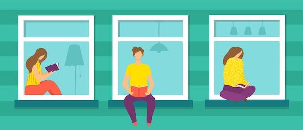 Janela com ilustração vetorial de pessoa personagem de mulher plana homem sente-se em casa design de estilo de vida interior ...