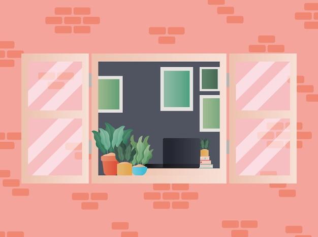 Janela com vista para o design do quarto, decoração da casa, interior, prédio de apartamentos e tema residencial