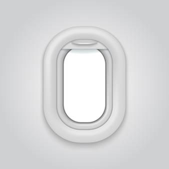 Janela da aeronave iluminador aberto do vetor realítico do avião maquete da vigia do avião companhia aérea branca