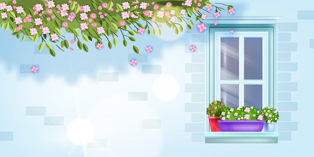 Janela da casa, vista frontal da parede de tijolos, peitoril, vaso de flores.